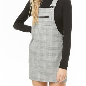 Forever 21 Grey Plaid Overall Dress